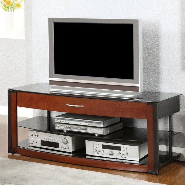 Furniture of america trenise cherry and black 1 drawer tv for Furniture of america danbury modern