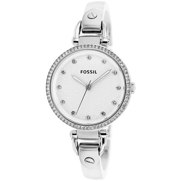 Fossil Women's ES3300 Georgia White Acrylic Skinny Strap Watch