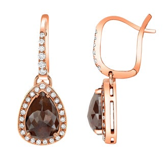 Auriya 14k Rose Gold 2 4/5ct TDW Brown and White Diamond Earrings (H-I, SI1-SI2)