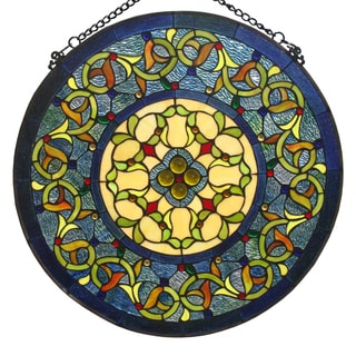 Tiffany-style Floral Stained Glass Window Panel