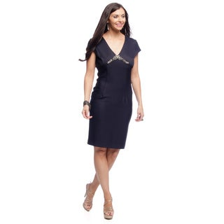 Alex Evenings Women's Cap Sleeve Cocktail Dress with Beaded Bodice Detail