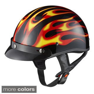 GLX Motorcycle Snap-on Visor Half Helmet