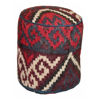 Decorative Woven Wool Pouf Ottoman