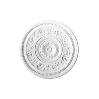 White Primed 16-inch Round Floral Ceiling Medallion