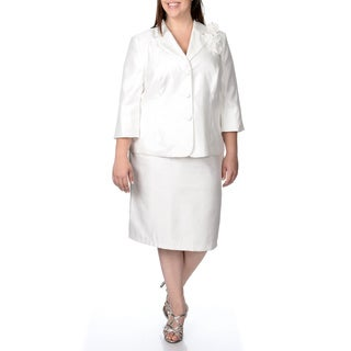 Danillo Women's Plus 2-piece Ivory Skirt Suit