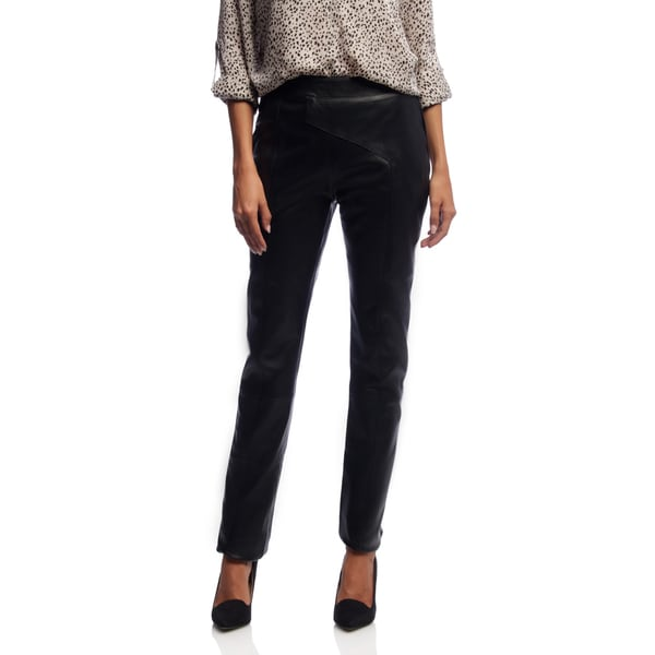 NDK New York Women's Lambskin High-rise Asymmetrical Fitted Trousers
