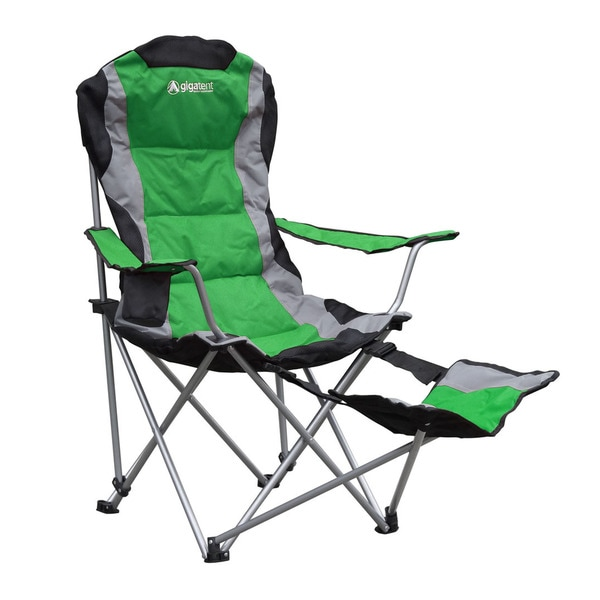 Green Polyester Foldable Footrest Camping Chair