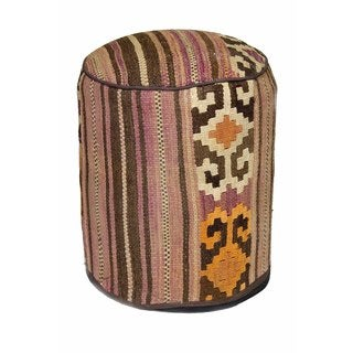 Southwest Design Multicolored Woven Wool Pouf Ottoman