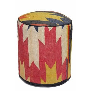 Nautical Multicolored Woven Wool Pouf Ottoman