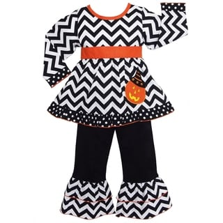AnnLoren Girls' Halloween Chevron Pumpkin Outfit