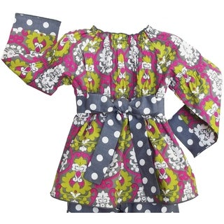 AnnLoren Girls' Grey Polka Dots/ Pink Damask 2-piece Outfit