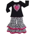 AnnLoren Girls Black Geometric Pink Heart Top and Pants