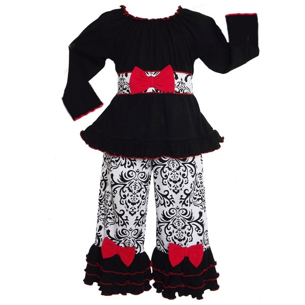AnnLoren Girls' Cotton Black/ White Damask with Red Bows Outfit