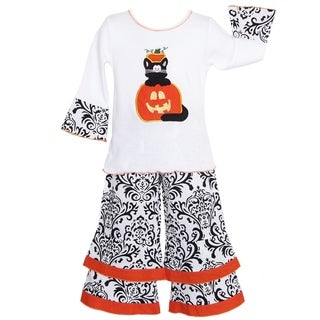 AnnLoren Girls' Halloween Cat in Pumpkin Damask Outfit