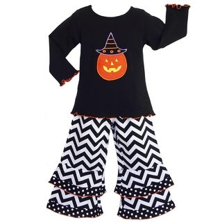 AnnLoren Girls Halloween Pumpkin Shirt and Chevron Pants Outfit