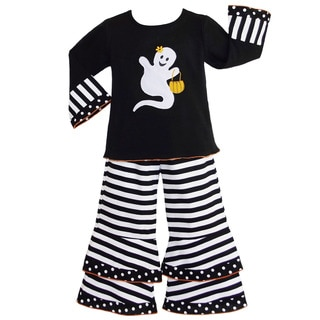 AnnLoren Girls' Halloween Ghost Shirt and Striped Pants Outfit