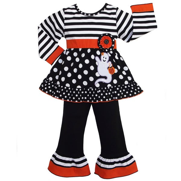 AnnLoren Girls' Halloween Stripe and Dot Ghost Outfit 13258346