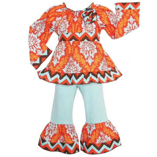 AnnLoren Girls' Orange Fall Damask and Chevron Outfit
