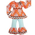 AnnLoren Girls' Orange Fall Damask and Chevron Outfit