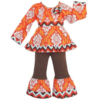 AnnLoren Girls' Boutique Autumn Damask and Chevron Outfit