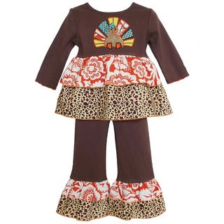 AnnLoren Girls' Boutique Colorful Thanksgiving Turkey Outfit