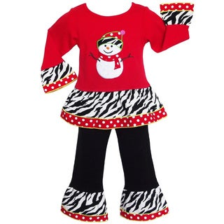 AnnLoren Girls' Christmas Snowman Holiday Outfit