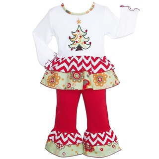AnnLoren Girls' Boutique Floral Christmas Tree Outfit