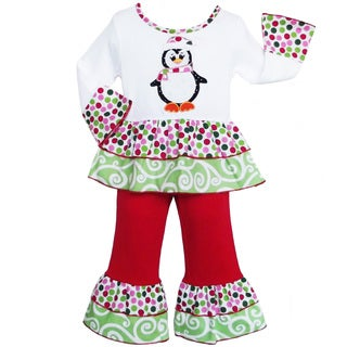 AnnLoren Girls' Boutique Christmas Penguin Outfit