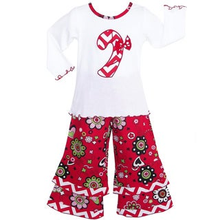 AnnLoren Girls' Boutique Candy Cane Christmas Floral Outfit