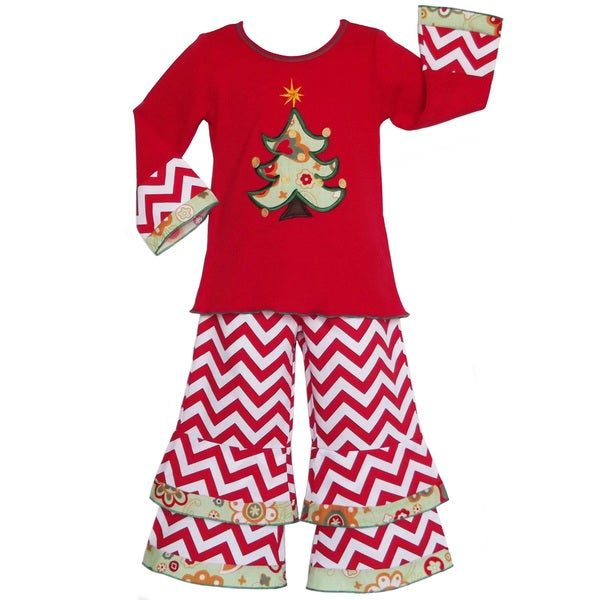 AnnLoren Girls' Boutique Christmas Tree and Chevron Outfit