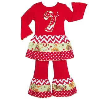 AnnLoren Girls' Boutique Christmas Candy Cane Chevron Outfit