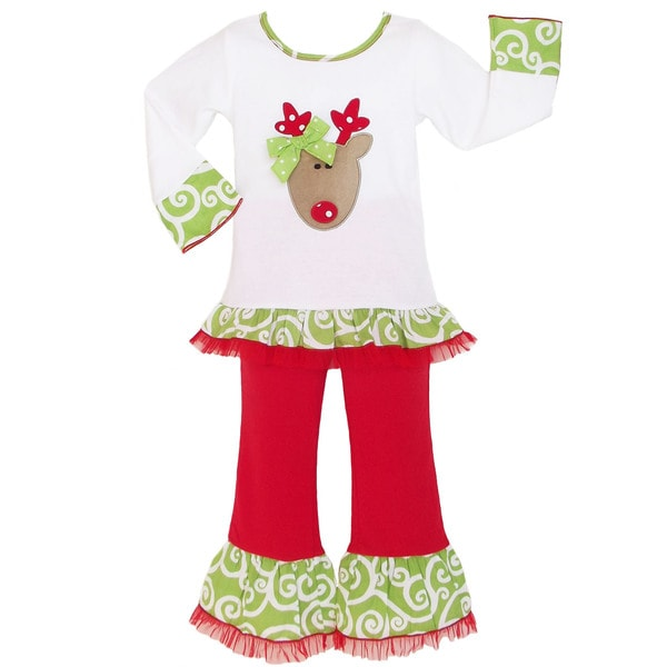 AnnLoren Girls' Boutique Reindeer Christmas Outfit