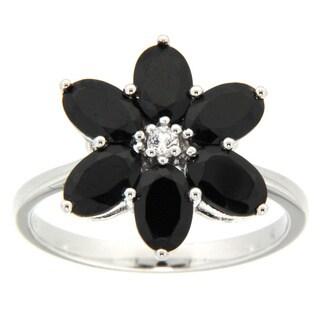 Pearlz Ocean Black Spinel Flower Ring