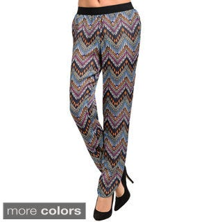 Feellib Women's Loose Fit Woven Trousers with Multi-colored Geo Pattern Design