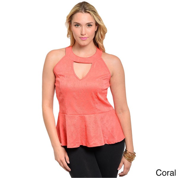 Shop The Trends Women's Plus Sleeveless Halter Peplum Top with Keyhole Cutout Chest Accent