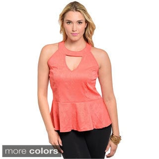 Feellib Women's Plus Sleeveless Halter Peplum Top with Keyhole Cutout Chest Accent
