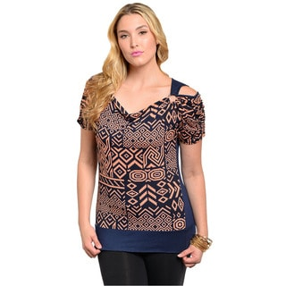 Shop The Trends Women's Plus Short Sleeve Top with Geo Aztec Theme Pattern Print