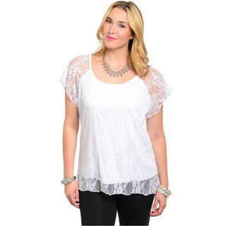 Feellib Women's Plus Sheer Floral Short Sleeve Top with Rounded Neckline