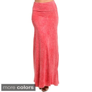 Feellib Women's Stretch Knit Maxi Skirt with Fold Over Waist Band
