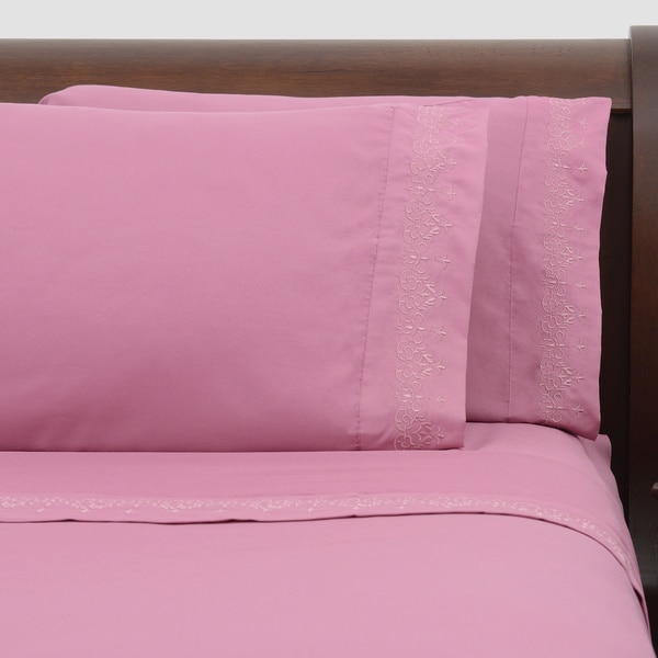 Presidential Suite Pink Embroidered Sheet Set