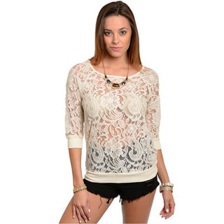 Feellib Women's 3/4-length Sleeve Sheer Lace Top with Ribbed Cuff And Hem Band