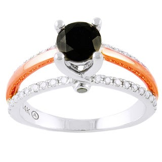 Beverly Hills Charm 14k Two-tone Gold 1ct TDW Black Diamond Engagement Ring