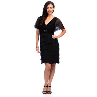 Jessica Howard Women's Black Flutter Sleeve Surplus Bodice Cocktail Dress