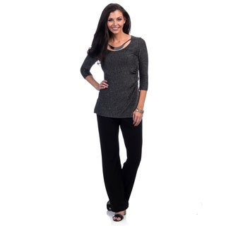 Jessica Howard Women's 2-piece 3/4-sleeve Tunic Pantsuit