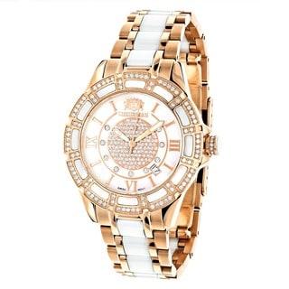 Luxurman Women's Galaxy Ceramic Rose Goldtone Diamond Two Tone Watch