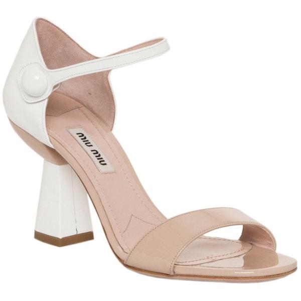 Miu Miu Women's Patent Leather Flared Heel Sandals