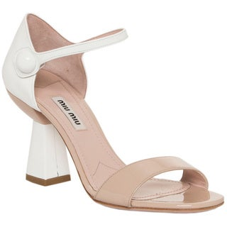 Miu Miu Women's Patent Leather Flared Heel Sandals