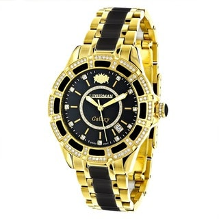 Luxurman Women's Galaxy Black Ceramic Diamond Watch