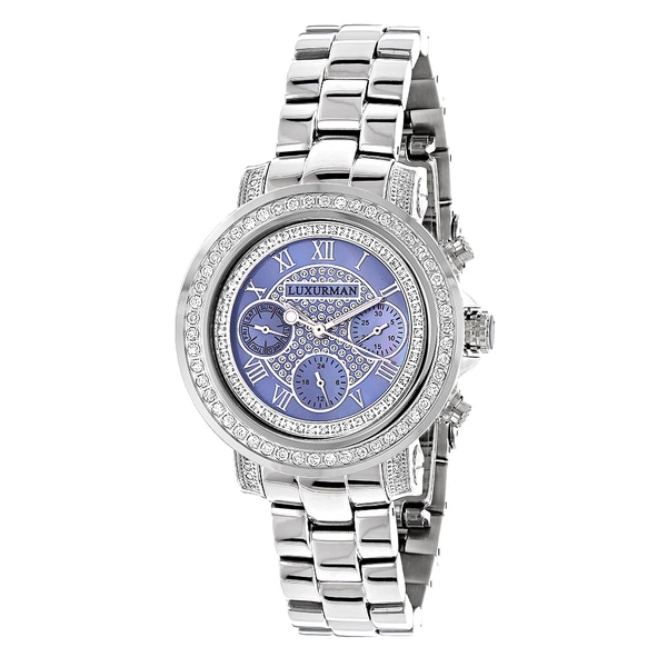 Luxurman Women's Montana Blue MOP 2ct Diamond Watch with Metal Band and Extra Leather Straps 13259139