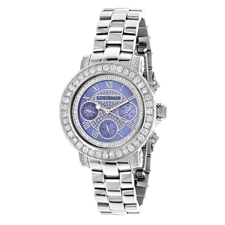 Luxurman Women's Blue MOP Montana 3ct Diamond Watch